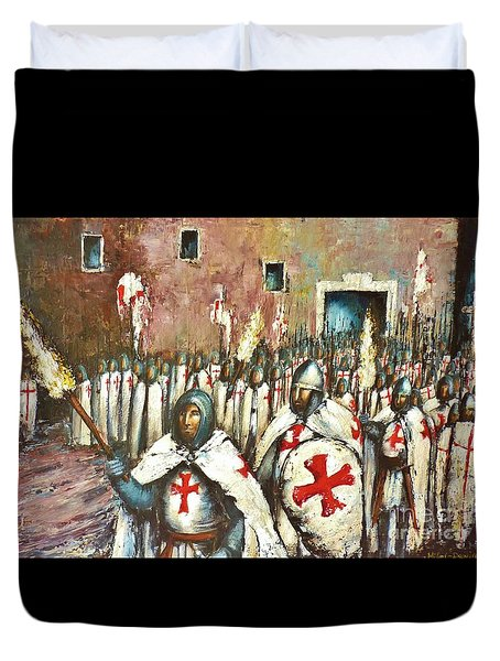 Templar Procession  Duvet Cover