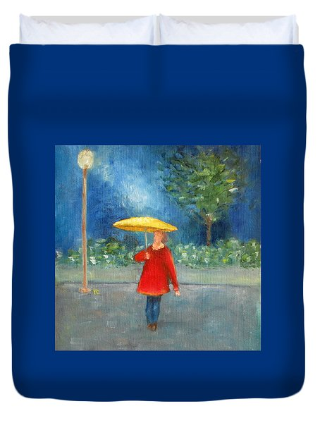 Duvet Cover featuring the painting Evening Rain by Patricia Cleasby