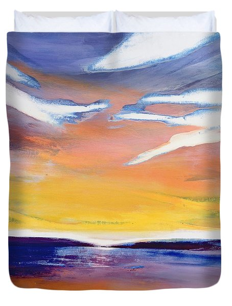 Evening Seascape Duvet Cover by Lou Gibbs
