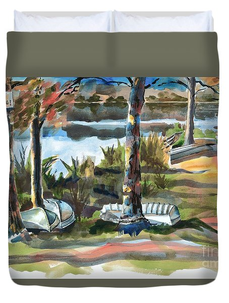 Evening Shadows At Shepherd Mountain Lake  No W101 Duvet Cover