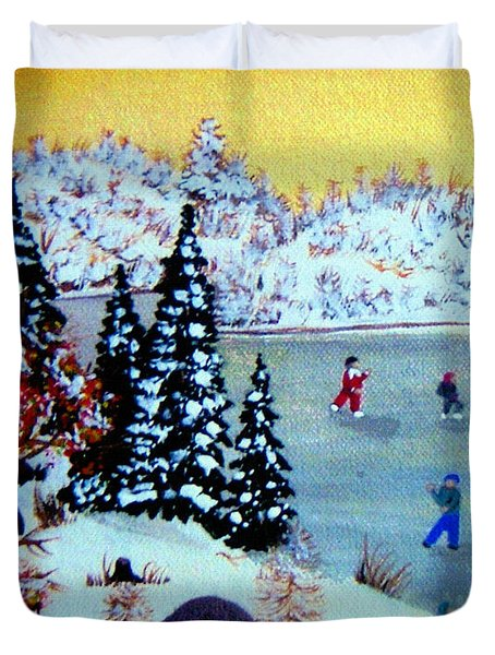 Evening Skating Duvet Cover by Barbara Griffin