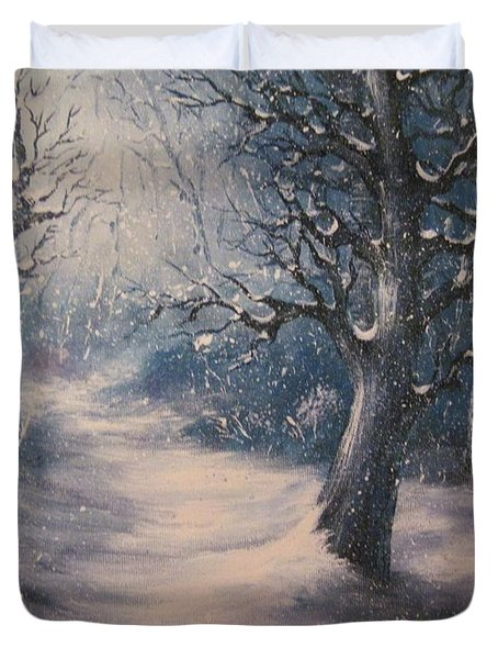 Evening Snow Duvet Cover by Megan Walsh