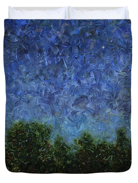 Duvet Cover featuring the painting Evening Star - Square by James W Johnson
