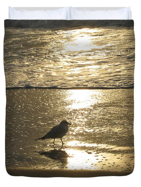 Duvet Cover featuring the photograph Evening Stroll For One by Judith Morris