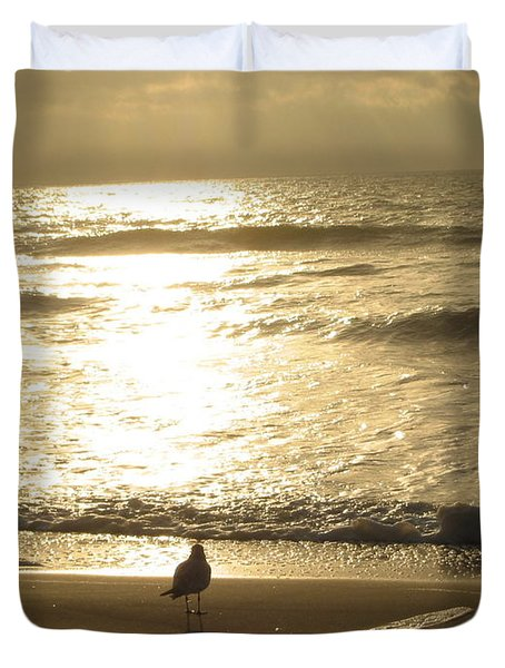 Duvet Cover featuring the photograph Evening Stroll by Judith Morris