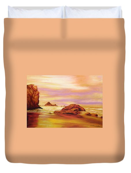 Duvet Cover featuring the pastel Evening Twilight   Pastel by Antonia Citrino