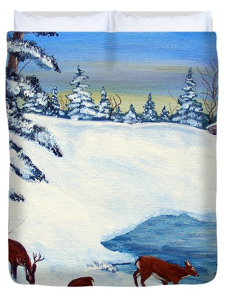 Evening Visitors Duvet Cover by Barbara Griffin