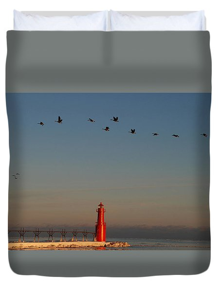 Evenings Final Flight Over The Light Duvet Cover