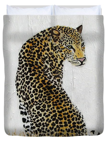 Duvet Cover featuring the painting Ever Watchful by Stephanie Grant