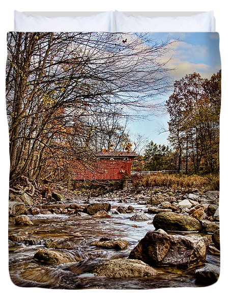 Everett Rd Covered Bridge Duvet Cover by Jack R Perry