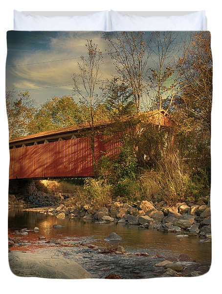 Everett Rd Summit County Ohio Covered Bridge Fall Duvet Cover