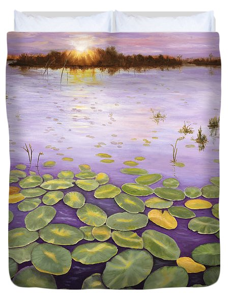 Duvet Cover featuring the painting Everglades Evening by Karen Zuk Rosenblatt