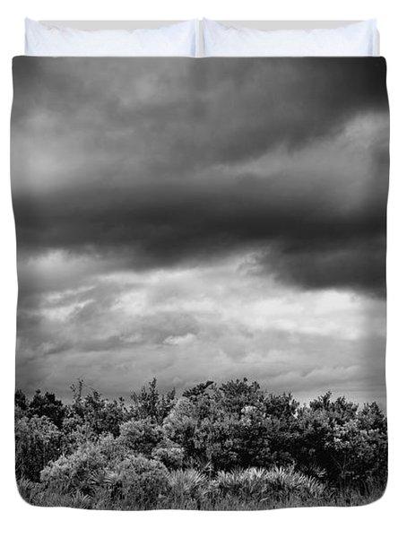 Everglades Storm Bw Duvet Cover by Rudy Umans