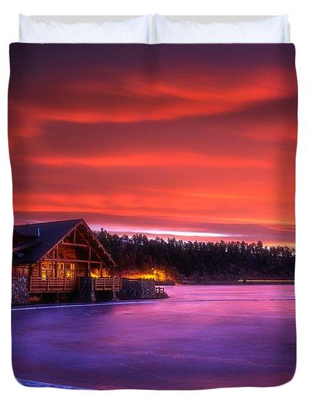 Evergreen Lake Sunrise Duvet Cover