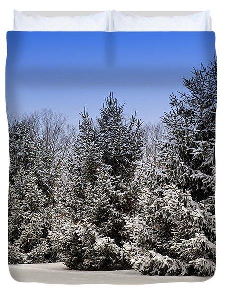 Evergreen Trees In Winter Duvet Cover