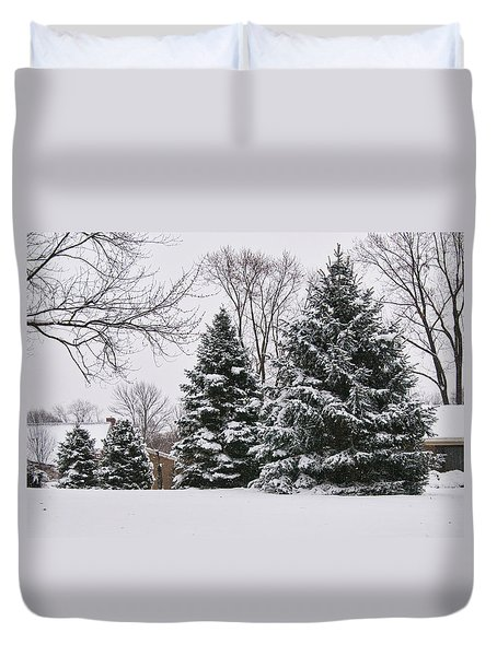 Evergreens In The Snow Duvet Cover