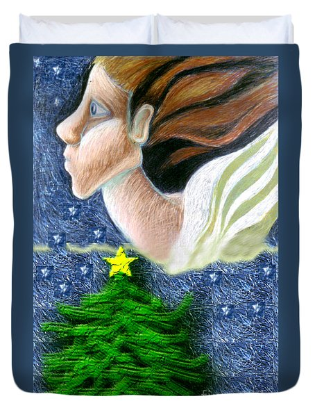 Everseeing Christmas Angel Duvet Cover by Genevieve Esson
