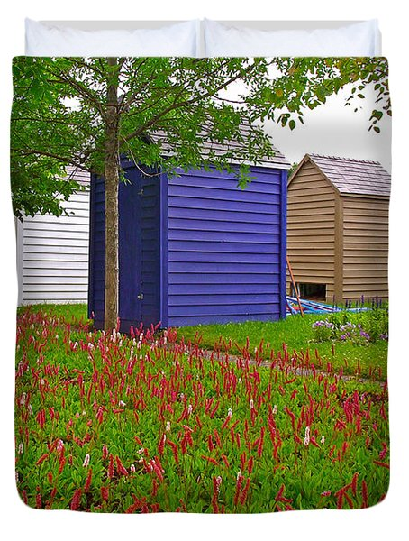 Every Garden Needs A Shed And Lawn In Les Jardins De Metis/reford Gardens-qc Duvet Cover by Ruth Hager