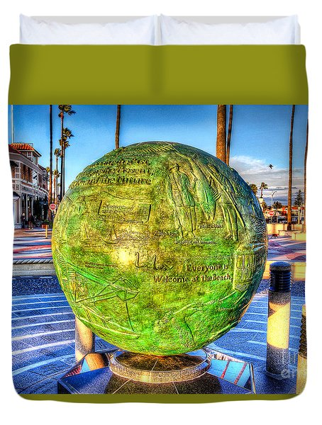 Everyone Is Welcome At The Beach Duvet Cover by Jim Carrell