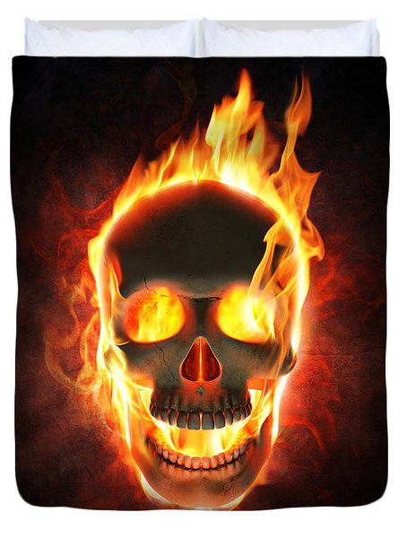 Evil Skull In Flames And Smoke Duvet Cover
