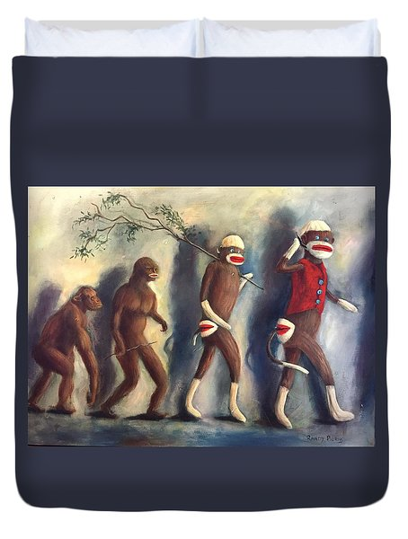 Duvet Cover featuring the painting Evolution by Randol Burns