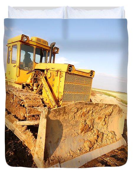 Excavator Working Duvet Cover by Michal Bednarek