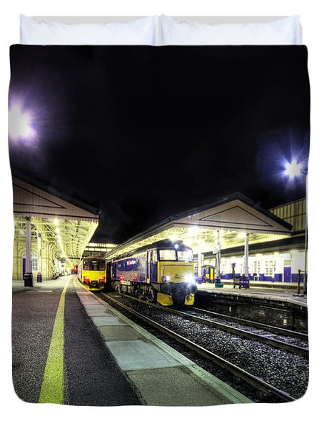 Exeter St Davids By Night  Duvet Cover by Rob Hawkins