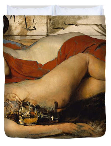 Exhausted Maenides Duvet Cover by Sir Lawrence Alma Tadema