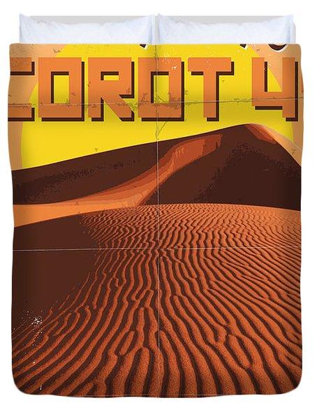 Exoplanet 05 Travel Poster Corot 4 Duvet Cover by Chungkong Art