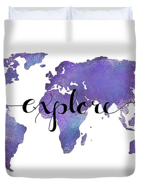 Explore World Map Painting Duvet Cover