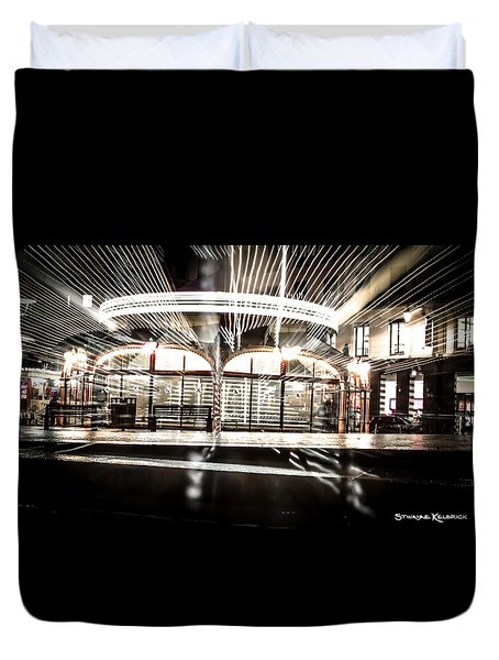 Duvet Cover featuring the photograph Explozoom On A French Carousel by Stwayne Keubrick