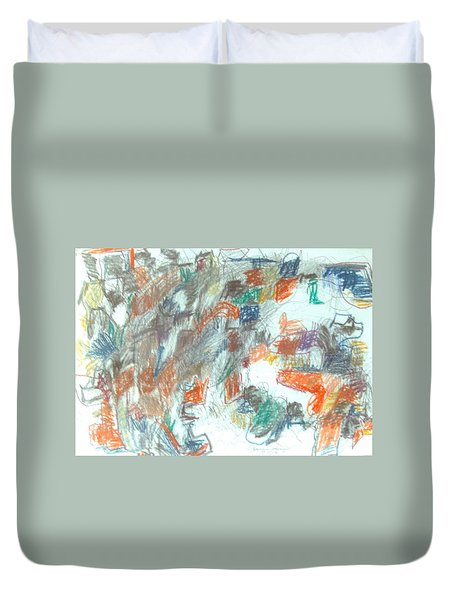 Duvet Cover featuring the mixed media Express Graphic by Esther Newman-Cohen