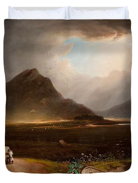 Extensive Landscape With Stonemason Duvet Cover by Daniel M. Mackenzie