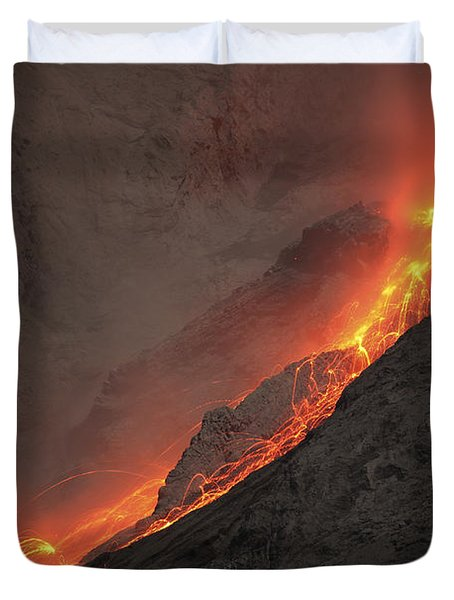 Extrusion Of Lava On Glowing Rockfalls Duvet Cover by Richard Roscoe