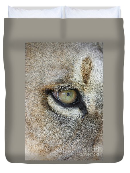 Duvet Cover featuring the photograph Eye Of The Lion by Judy Whitton