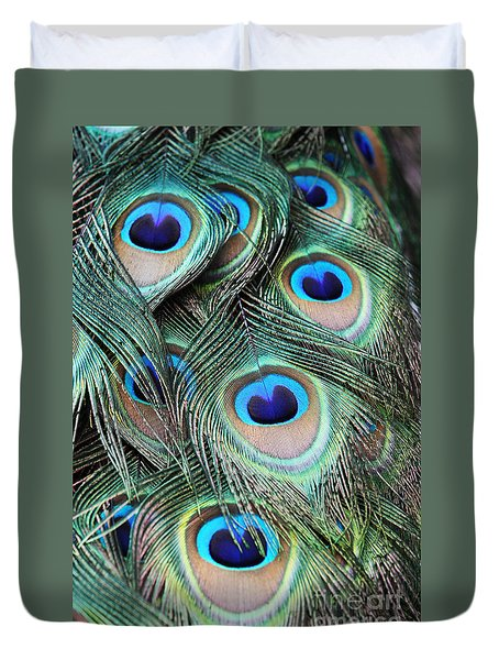 Duvet Cover featuring the photograph Eye Of The Peacock #2 by Judy Whitton