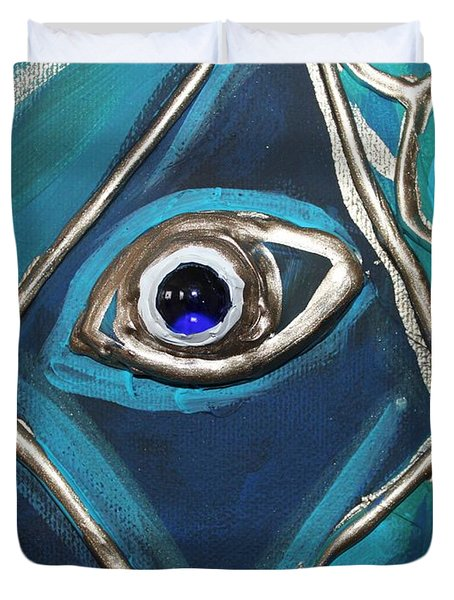 Eye Of The Peacock Duvet Cover by Cynthia Snyder