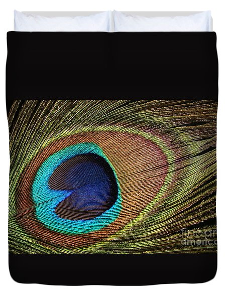 Eye Of The Peacock Duvet Cover by Judy Whitton