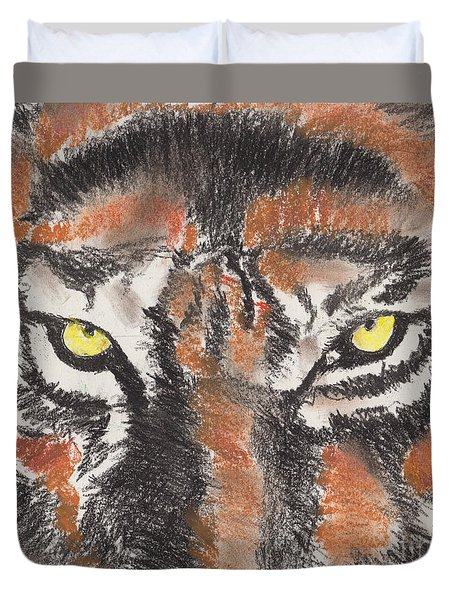 Duvet Cover featuring the pastel Eye Of The Tiger by David Jackson