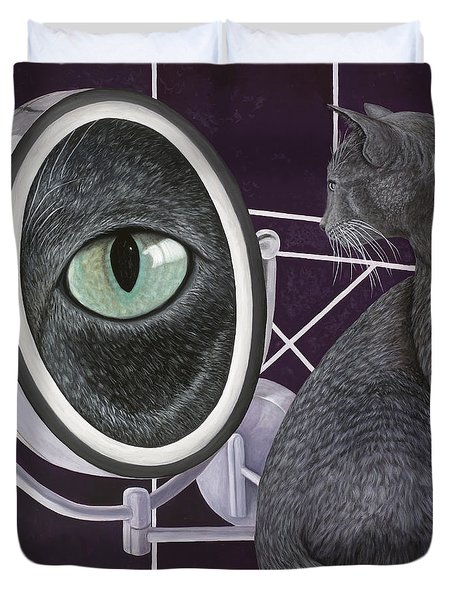 Duvet Cover featuring the painting Eye See You by Karen Zuk Rosenblatt