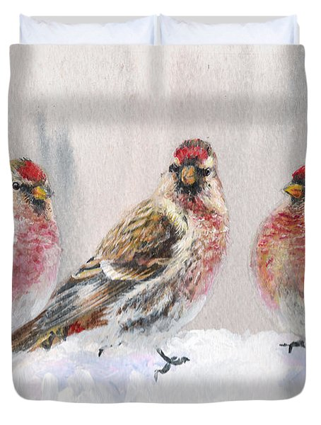 Snowy Birds - Eyeing The Feeder 2 Alaskan Redpolls In Winter Scene Duvet Cover