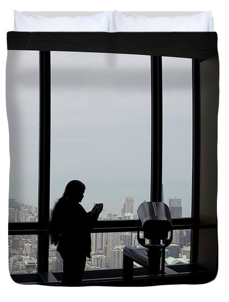 Eyes Down From The 103rd Floor Texting From The Top Of The World Duvet Cover by Thomas Woolworth
