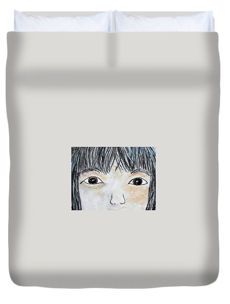 Duvet Cover featuring the painting Eyes Of Love by Eloise Schneider