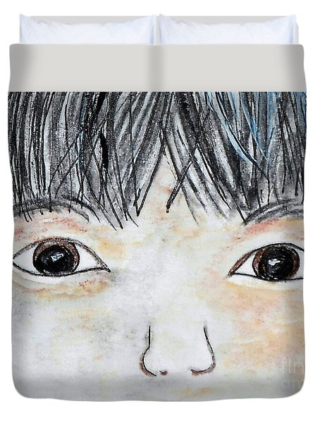 Eyes Of Love Duvet Cover by Eloise Schneider
