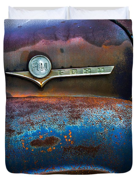 F-100 Ford Duvet Cover by Debra and Dave Vanderlaan