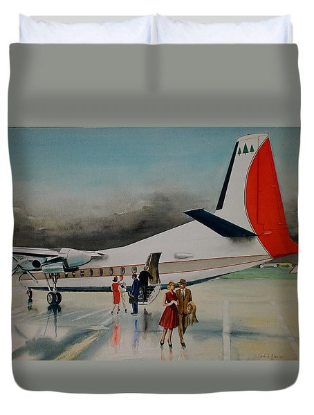 F-27 At Columbus Ohio Duvet Cover by Frank Hunter