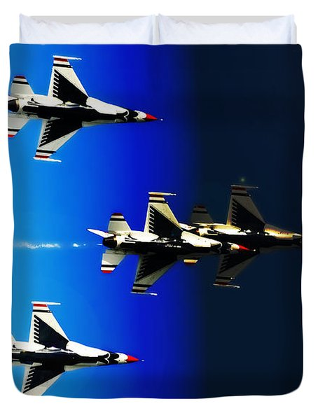 Duvet Cover featuring the photograph F16 Flight Into Space by DigiArt Diaries by Vicky B Fuller