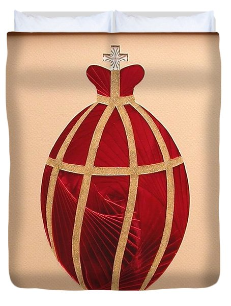 Duvet Cover featuring the mixed media Faberge Egg 2 by Ron Davidson