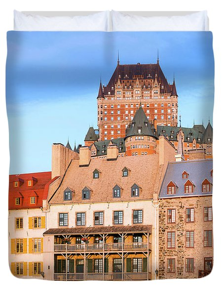Facade Of Chateau Frontenac In Lower Duvet Cover