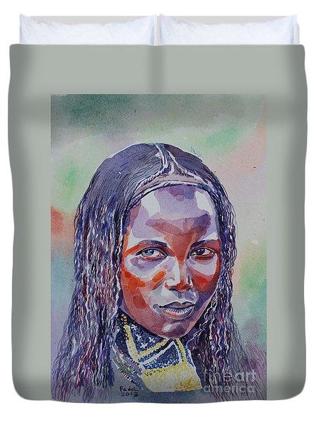 Face From Sudan  1 Duvet Cover by Mohamed Fadul
